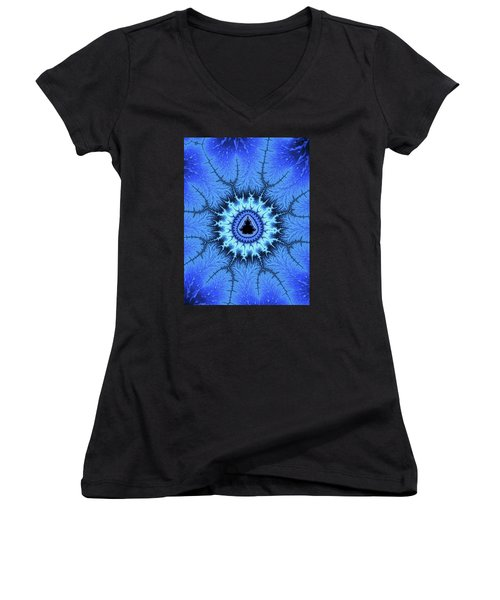 Women's V-Neck featuring the digital art Blue Mandelbrot Fractal Relaxing And Balanced by Matthias Hauser