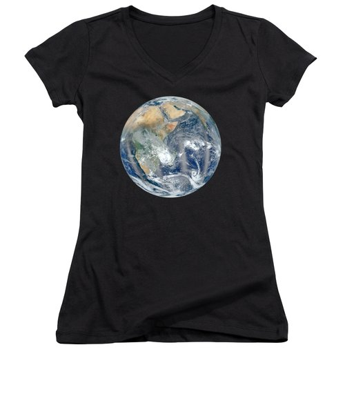 Blue Marble 2012 - Eastern Hemisphere Of Earth Women's V-Neck T-Shirt (Junior Cut) by Nikki Marie Smith