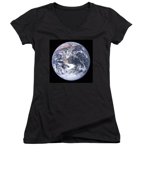 Blue Marble - Image Of The Earth From Apollo 17 Women's V-Neck (Athletic Fit)