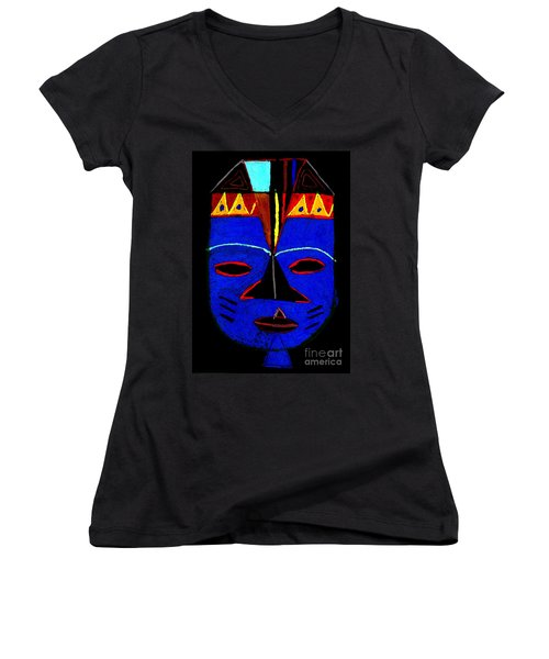 Blue Mask Women's V-Neck T-Shirt (Junior Cut) by Angela L Walker