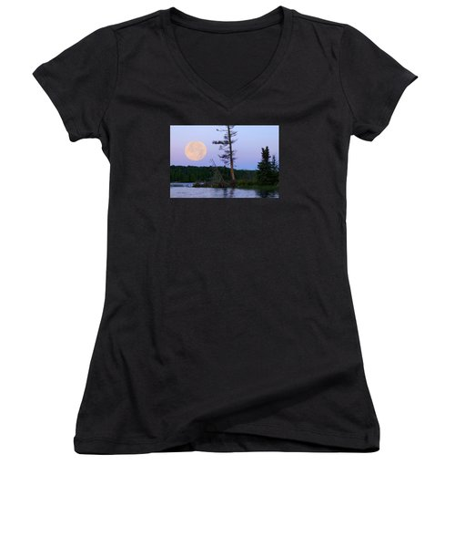 Women's V-Neck T-Shirt (Junior Cut) featuring the photograph Blue Moon At Sunrise by Steven Clipperton