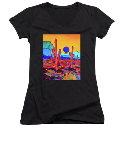 Blue Moon Women's V-Neck T-Shirt (Junior Cut) by Jeanette French