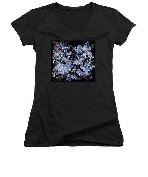 Women's V-Neck T-Shirt (Junior Cut) featuring the digital art Blue Moon by Loxi Sibley