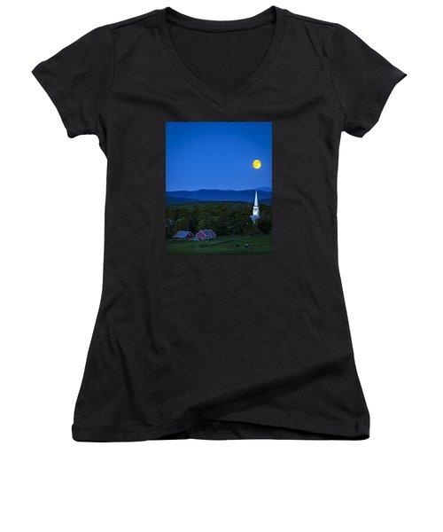 Blue Moon Rising Over Church Steeple Women's V-Neck T-Shirt (Junior Cut) by John Vose