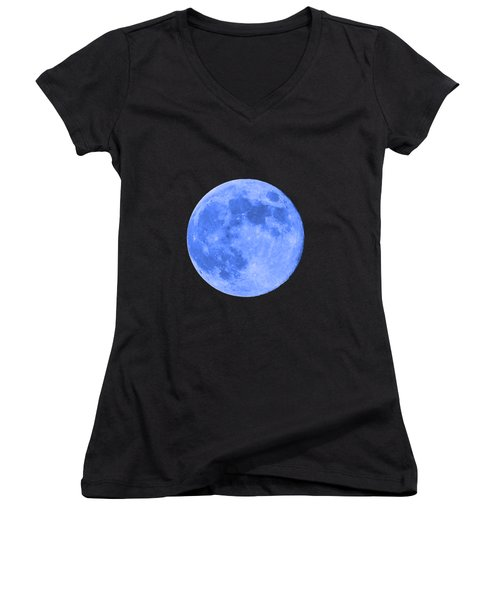 Blue Moon .png Women's V-Neck T-Shirt (Junior Cut) by Al Powell Photography USA