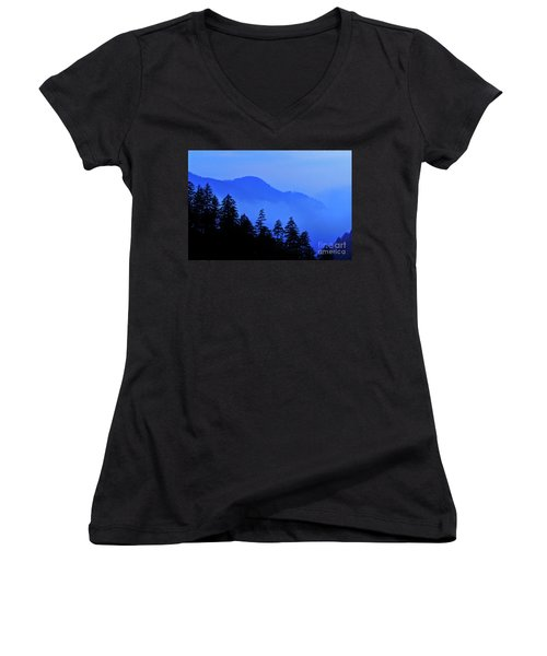Women's V-Neck T-Shirt (Junior Cut) featuring the photograph Blue Morning - Fs000064 by Daniel Dempster