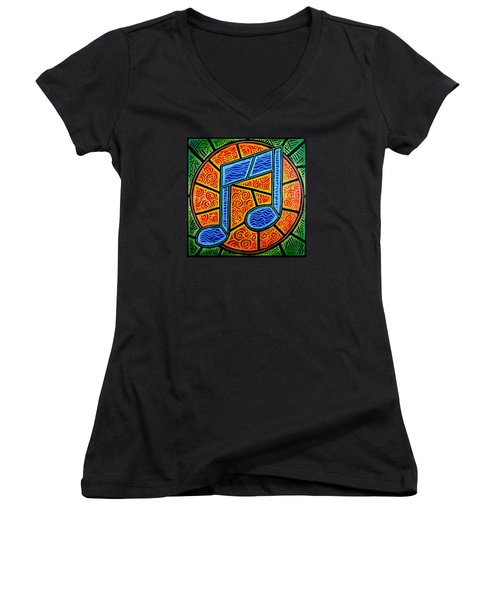 Women's V-Neck T-Shirt (Junior Cut) featuring the painting Blue Note On Red by Jim Harris