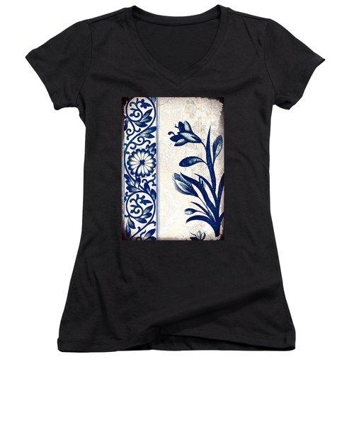 Blue Oriental Vintage Tile 03 Women's V-Neck (Athletic Fit)