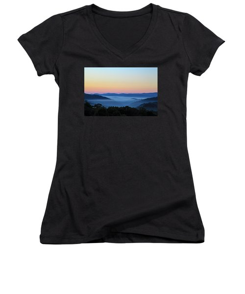 Blue Ridge Dawn Women's V-Neck T-Shirt (Junior Cut) by Dale R Carlson