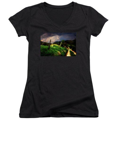 Blue Ridge Mountain Country Road Women's V-Neck T-Shirt (Junior Cut) by Gray  Artus