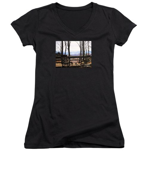 Blue Ridge Mountain Porch View Women's V-Neck T-Shirt (Junior Cut) by Patricia L Davidson