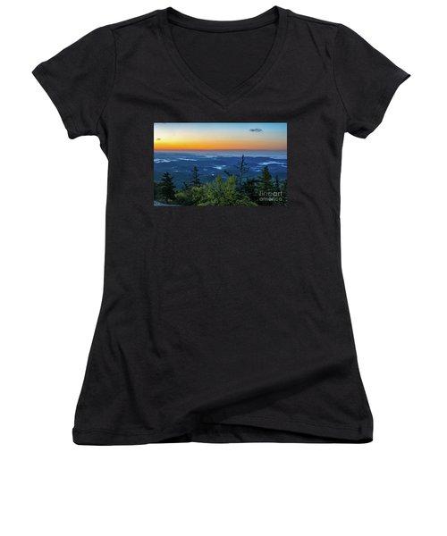 Blue Ridge Mountains Sunrise Women's V-Neck