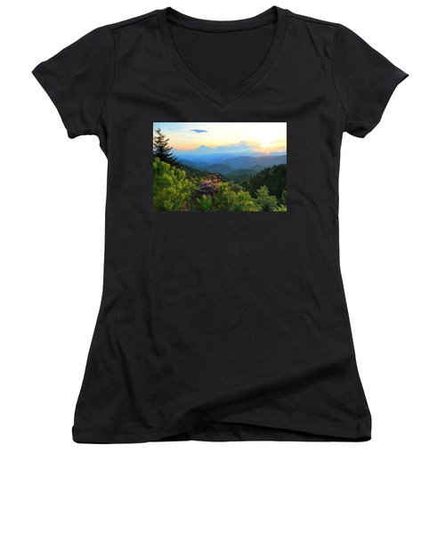 Blue Ridge Parkway And Rhododendron  Women's V-Neck