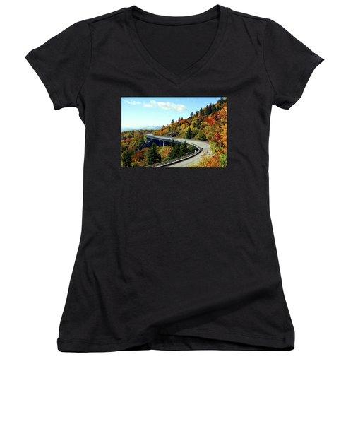 Women's V-Neck T-Shirt (Junior Cut) featuring the photograph Blue Ridge Parkway Viaduct by Meta Gatschenberger