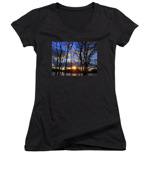 Women's V-Neck T-Shirt (Junior Cut) featuring the photograph Blue Skies And Golden Sun by J R Seymour