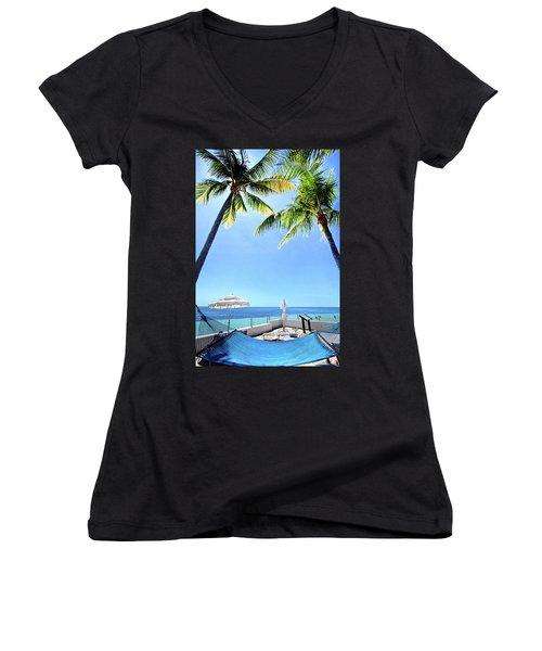 Women's V-Neck T-Shirt (Junior Cut) featuring the photograph Blue Sky Breezes by Phil Koch