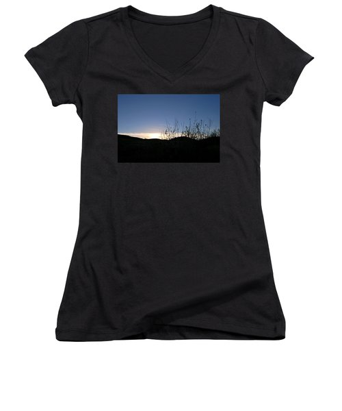 Blue Sky Silhouette Landscape Women's V-Neck (Athletic Fit)