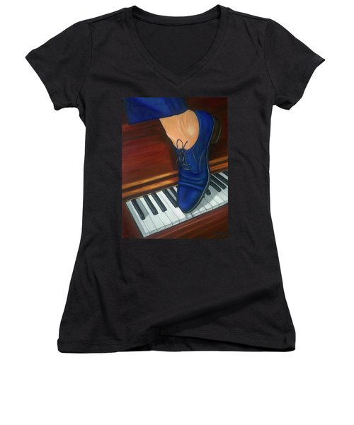 Blue Suede Shoes Women's V-Neck T-Shirt (Junior Cut) by Marlyn Boyd
