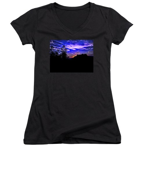 Women's V-Neck T-Shirt (Junior Cut) featuring the photograph Blue Sunset In Poland by Mariola Bitner