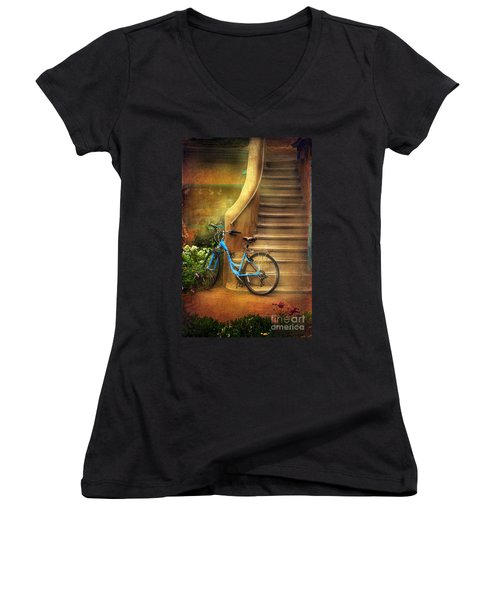 Blue Taos Bicycle Women's V-Neck T-Shirt
