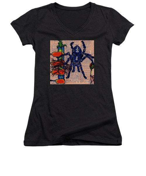 Blue Tarantula Women's V-Neck T-Shirt (Junior Cut) by Emily McLaughlin
