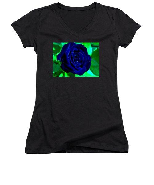 Blue Velvet Rose Women's V-Neck T-Shirt (Junior Cut) by Samantha Thome