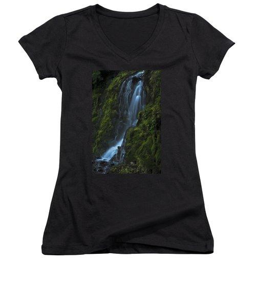 Blue Waterfall Women's V-Neck T-Shirt