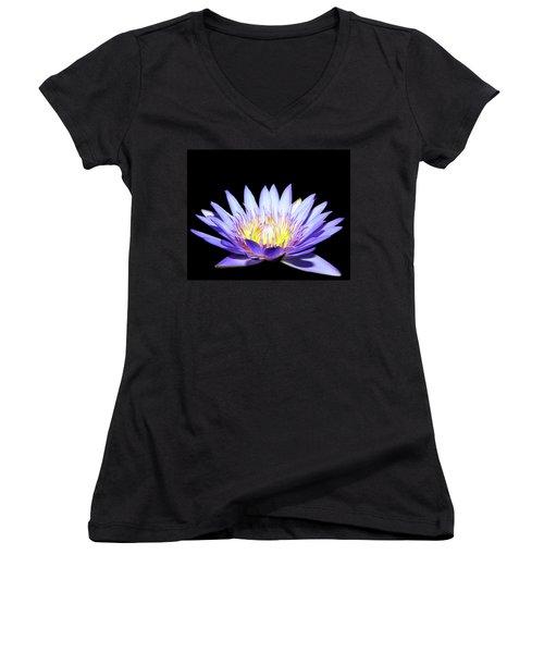Women's V-Neck T-Shirt (Junior Cut) featuring the photograph Blue Wonder by Judy Vincent