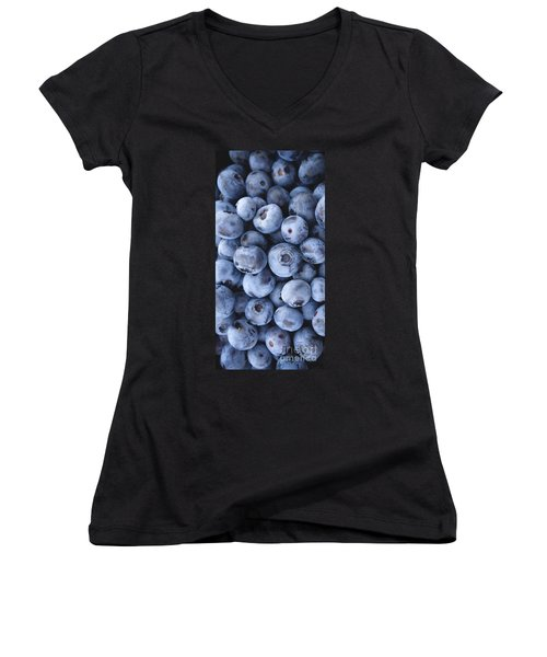 Blueberries Foodie Phone Case Women's V-Neck T-Shirt (Junior Cut) by Edward Fielding