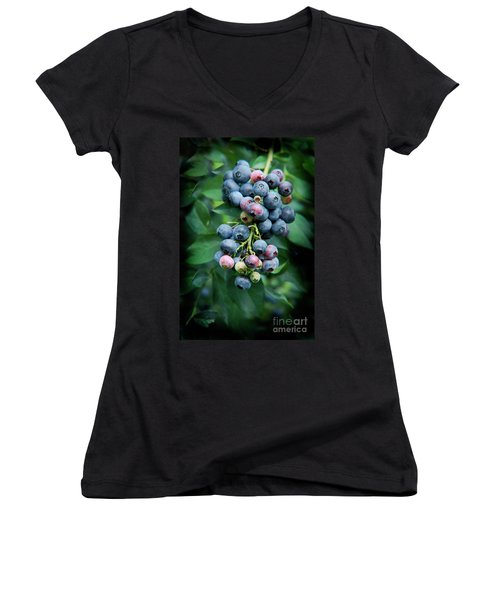 Blueberry Cluster Women's V-Neck (Athletic Fit)