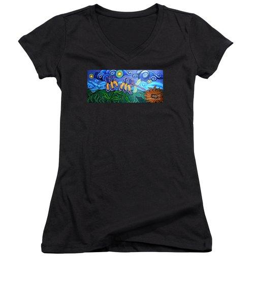 Bluebird Dragonfly And Irises Women's V-Neck T-Shirt (Junior Cut) by Genevieve Esson