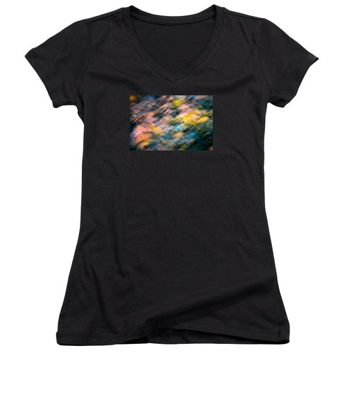 Blurred Leaf Abstract 1 Women's V-Neck T-Shirt