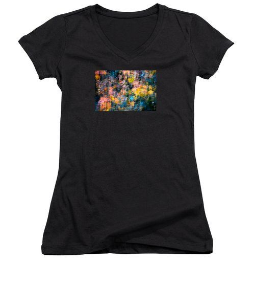 Blurred Leaf Abstract 2 Women's V-Neck T-Shirt