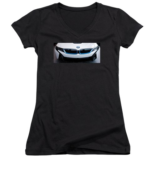 Women's V-Neck T-Shirt (Junior Cut) featuring the photograph Bmw E Drive I8 by Aaron Berg