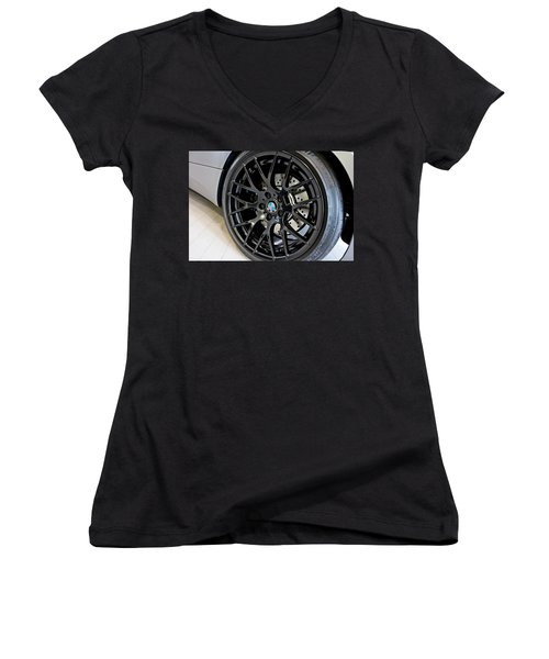 Women's V-Neck T-Shirt (Junior Cut) featuring the photograph Bmw M3 Wheel by Aaron Berg