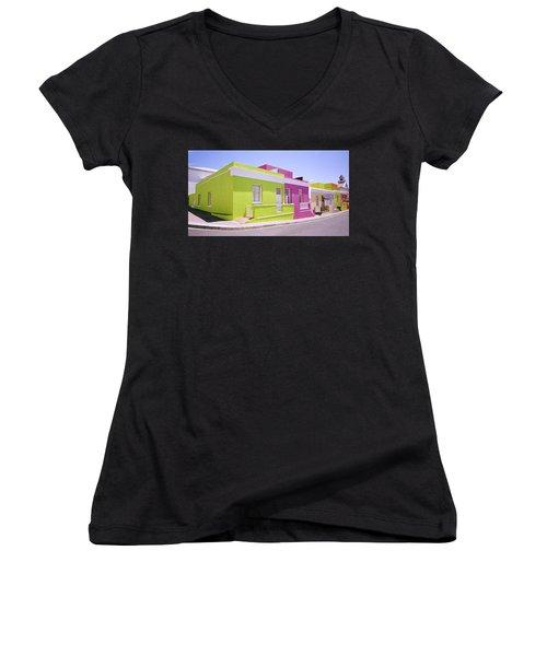 Bo Kaap Color Women's V-Neck T-Shirt (Junior Cut) by Shaun Higson