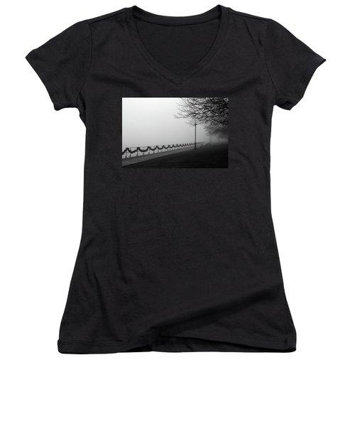 Boardwalk Fog 7 Women's V-Neck T-Shirt (Junior Cut) by Mary Bedy