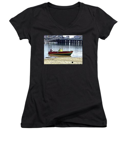 Boat At The Beach Provincetown Women's V-Neck T-Shirt