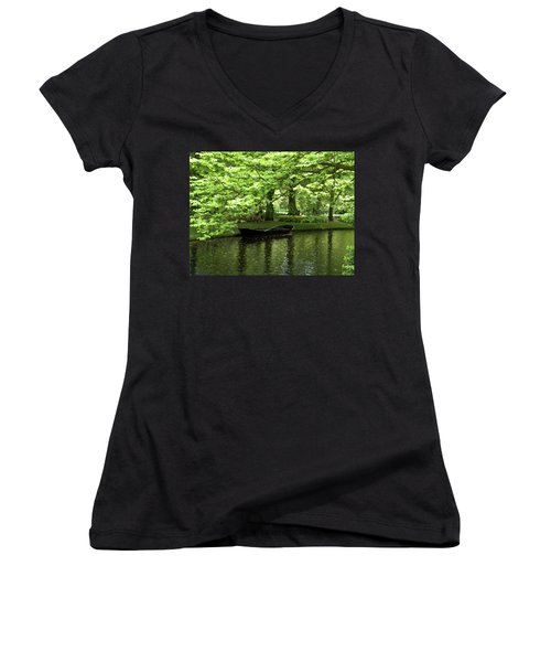 Boat On A Lake Women's V-Neck (Athletic Fit)