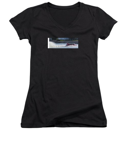 Boat On The Water Women's V-Neck (Athletic Fit)