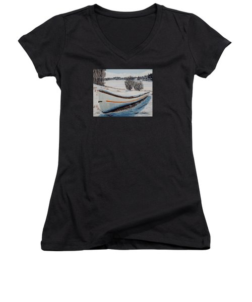 Women's V-Neck T-Shirt (Junior Cut) featuring the painting Boat Under Snow by Marilyn  McNish