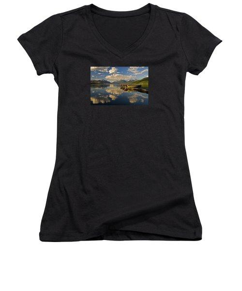 Women's V-Neck T-Shirt (Junior Cut) featuring the photograph Boats At Lake Mcdonald by Gary Lengyel