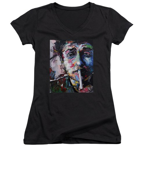 Bob Dylan Women's V-Neck T-Shirt (Junior Cut) by Richard Day