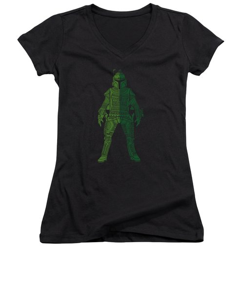 Boba Fett - Star Wars Art, Green 02 Women's V-Neck (Athletic Fit)