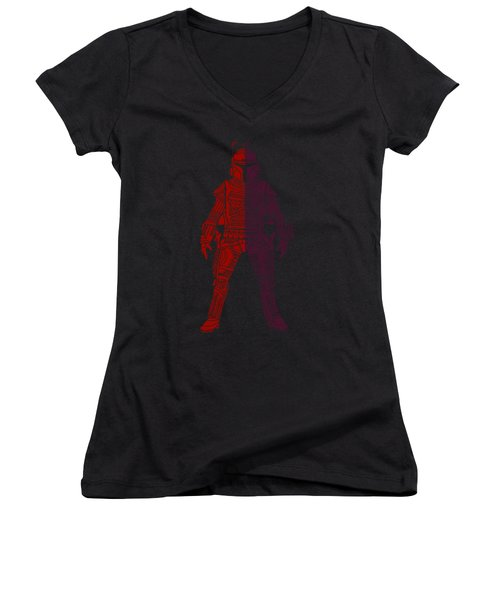 Boba Fett - Star Wars Art, Red Violet Women's V-Neck (Athletic Fit)