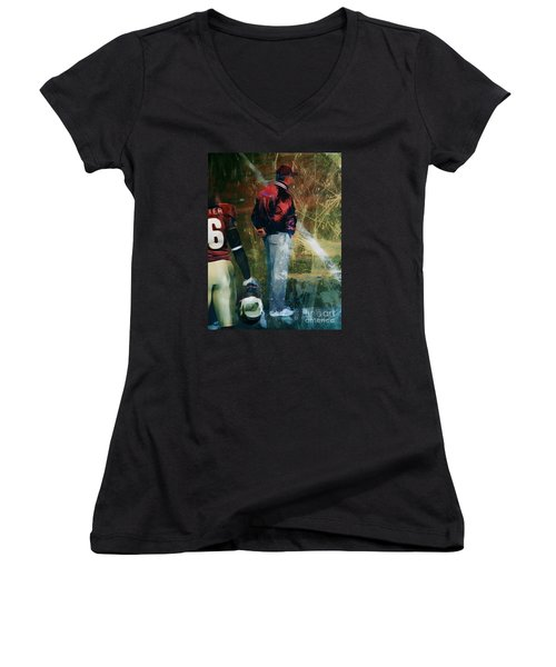 Bobby Bowden Women's V-Neck T-Shirt (Junior Cut) by Paul Wilford