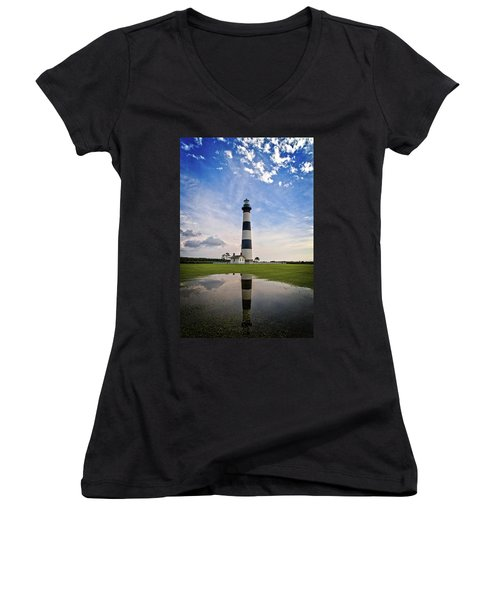 Bodie Island Lighthouse Women's V-Neck (Athletic Fit)