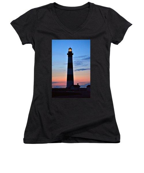 Bodie Lighthouse 7/18/16 Women's V-Neck