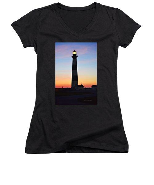 Bodie Lighthouse At Sunrise Women's V-Neck