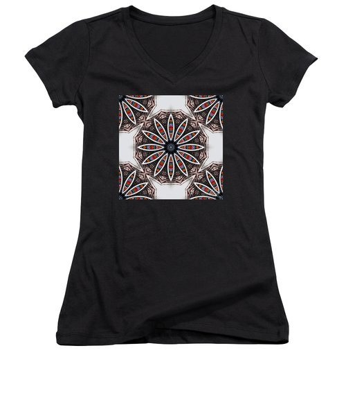Boho Flower Women's V-Neck T-Shirt (Junior Cut) by Mo T